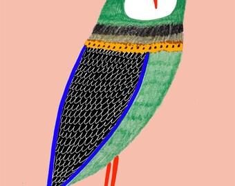 Green Owl. children's illustration art print kids decor nursery wall art.