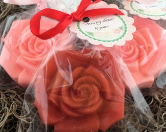 25 ROSE Party Favor Soaps: Wedding Favors, Baby Shower, Birthday favors, Bridal favors, Destination Wedding, Rose Favors, Flower Favors,