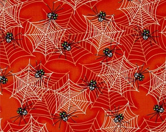 Glow In The Dark Spiders and Webs on Orange from Henry Glass's Fangtastic Collection By First Blush Studio