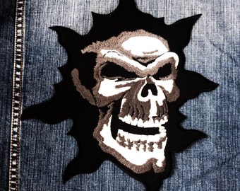 LARGE SIZE Flame Skull Ghost Monster Rider Biker Tatoo Jacket T-shirt Patch Sew Iron