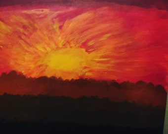 Sunset with a rose in the sun. On canvas art painting with oil and acrylic.