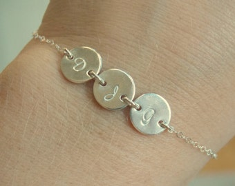 1 2 3 4 5 6 7 8 SILVER Disc Monogrammed Personalized Initial BRACELET,  Mother Sister Best Friend Bracelet, Initial Disc Charm Bracelet