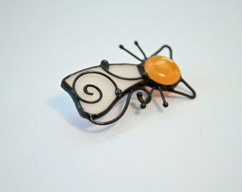 Stained Glass Brooche, Stained Glass Pin, Glass Brooche, Glass Pin, Cat Brooche, Cat Pin, Glass Broach, Statement Brooch, Eco Friendly,