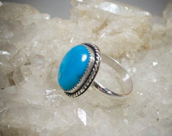 Kingman Turquoise Sterling Silver Ring Size 8.75  (50-0147)