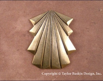 Art Deco Type Dapped Component in Antiqued Polished Brass (item 1506 AG) - 6 Pieces