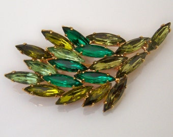 Leaf Branch Brooch. Three Shades Of Green Marquis Stones.