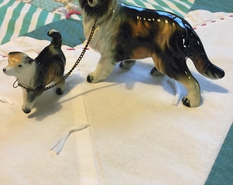 Vintage Chained Collie and Puppy Made in Japan