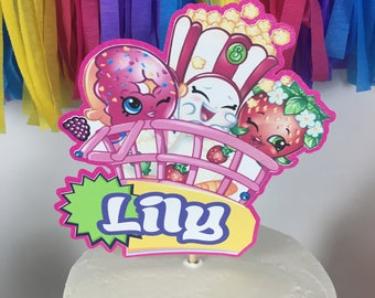 Personalized Shopkins Cake Topper