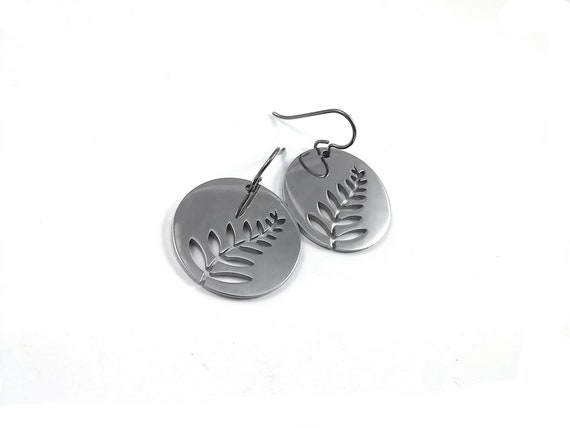 Silver fern dangle earrings - Hypoallergenic pure titanium and stainless steel