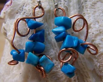 Turquoise Howlite Copper Artisan Wire Dangle Earrings OOAK