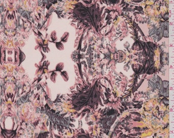 Peach Stylized Floral Crepe de Chine, Fabric By The Yard