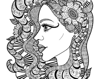 WRAPPED IN BEAUTY - Coloring Page Zentangle Line Art Decorative Doodle Illustration Cartoon Portrait Woman Face Profile Floral Flowers Hair