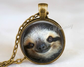 SLOTH Necklace, Sloth Pendant, Sloth Keychain, Sloth Jewelry, Cute Animal Necklace, Happy Sloth