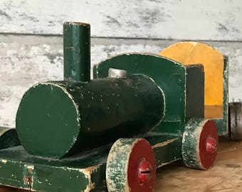 "5.5 ""Large old wooden vintage train with trailer"