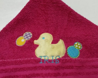 Personalized Kids Hooded Towel - Rubber Duck Hooded Bath Towel - Tub Time Rubber Ducky Towel