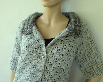 Crochet Cardigan, Alpaca Cardigan, Gray Cardigans, Gray Cardigan, Crochet Jacket Cardigan, Cardigan Women, Crochet Tops, Available in S/M
