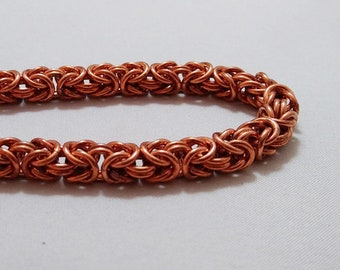 Handmade Chainmail Bracelet 18g Byzantine Solid Copper  Maille Jewelry