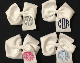 Baby Girl Monogramed Hairbow, Initial Embroidered Headband, Hearts, Clover, Crown