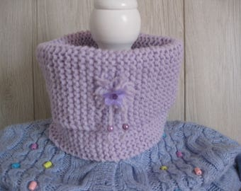 girl snood wool mauve color