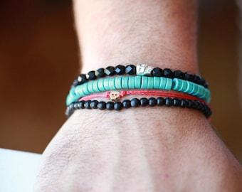 Beaded Gem stone Mens Bracelet - Mens Gem stone Bracelet