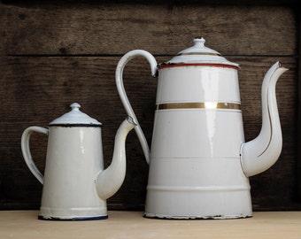 1 Large French antique white enamel coffee pot and goldy, antique french enamelware, white enamel teapot