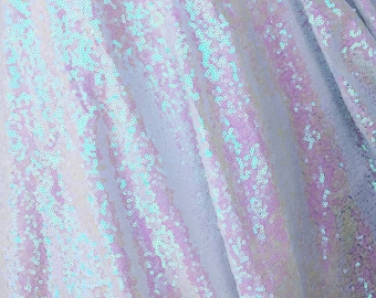 White Iridescent Sequin Fabric, Glitters Sequins Fabric for Dress, Full Sequin on Mesh Fabric, White Iridescent Sequins Fabric by the Yard