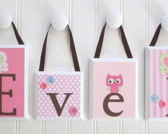 ROUTED EDGE . Name Blocks . Nursery Name Blocks . Nursery Decor . Baby Name Blocks . Wood Name Blocks . Birds Owls . Pink Green Brown