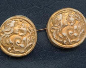 Sale !  2  Golden Polymer  side  drilled Art Nouveau face beads ANSB 1