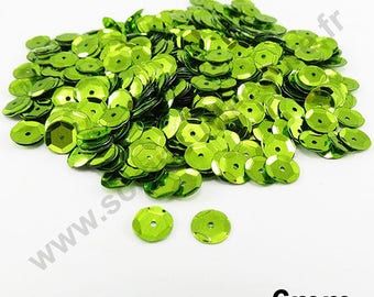 Sequin curved sequin - Apple green - 6mm - x 400pcs