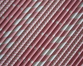 25 or 50 Light Pink Straws
