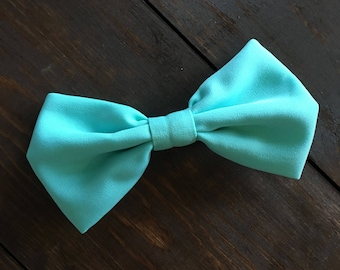 Turquoise Fabric Hair Bow