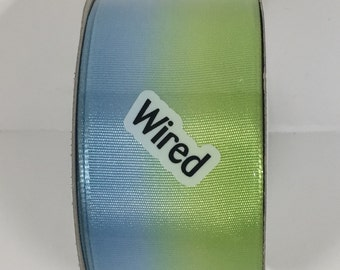 1.5 Inch Blue Green Blended Wired Ribbon 162445-1007