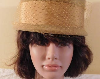 Vintage Bucket Hat Light Brown Velour wide Brown Ribbon and Netting Peachbloom Velour