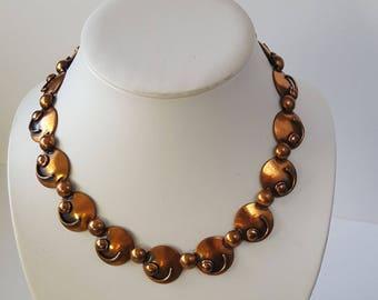 Vintage Modernist Rebajes Copper Necklace, Rebajes Adjustable Choker, Mid Century Copper Necklace, Abstract Copper Disc Necklace, Circa 1950