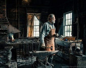 The Blacksmith, Environmental Portrait 19th Century Smith, Forge, Old World, Occupational Photography, Signed Print