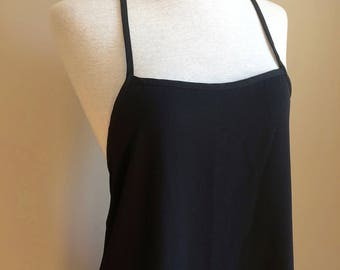 Vintage 90's 1990's minimalist black spaghetti strap A-line mini supermodel summer dress small lbd
