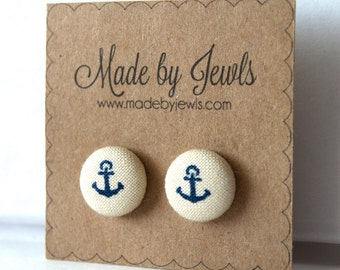 Blue and White Nautical Anchor Fabric Covered Hypoallergenic Button Post Stud Earrings 10mm