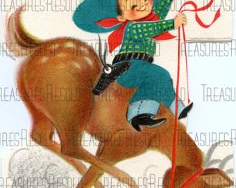 Childs Cowboy Riding A Reindeer Christmas Card #237 Digital Download