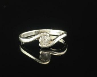Solitaire/Half Bezel CZ  Sterling Silver Ring Size 9.25 Vintage