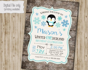 Penguin Winter ONEderland Invitation, Wood First Birthday Invite, Penguin Invitation, Winter ONEderland, Rustic, Snow, First Birthday