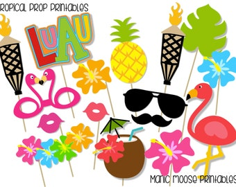 Printable Tropical Party Photo Booth Props ~ Tiki Party Props ~ Tropical Luau Party, Bridal Showers