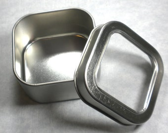 Square Tin with Clear Lid - 4 ounces - Seamless and Food Grade - Use for your Pendants Magnets Gifts Favors and Goodies - 25