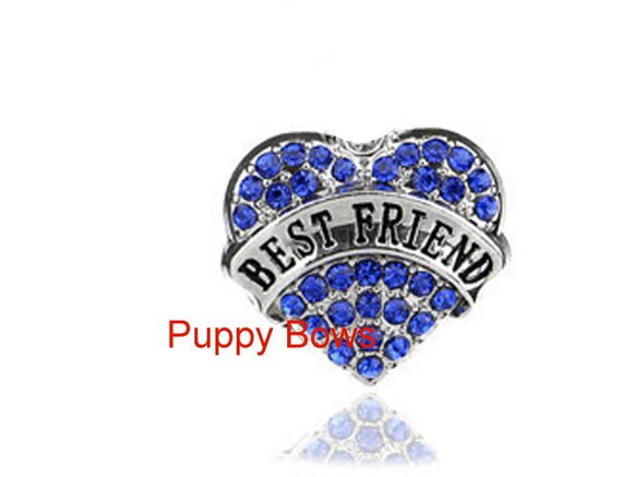 Puppy Bows ~CLEARANCE SALE 50% OFF Best friend rhinestone dog bow barrette pink or blue heart