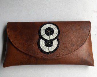 African Leather Bag| African Envelope Clutch Bag| Leather Ipad  Case| Maxi Evening Clutch Purse| Brown Clutch bag| Handcrafted Bags For Her