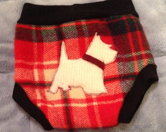 Large Red Plaid White Dog 100% Wool Soaker Diaper Cover Shorties Double Layer Wet Zone