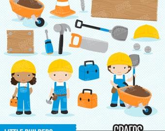 LITTLE BUILDERS  - Digital Clipart Set, Builder Clipart, Construction Clipart.