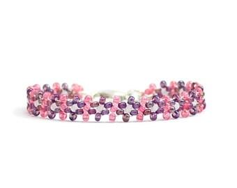 Pink and Purple Bracelet - Children's Jewelry - Girls Seed Bead Bracelet - Daisy Chain Jewelry - Child's Beaded Bracelet