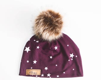Hat - Burgundy with stars - non doubled - with or without pompom - baby children adult