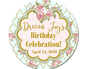 Personalized Birthday Labels / Roses Label / Birthday Stickers / Birthday Celebration / Custom Favor Labels / Mason Jars / Thank You / Gifts