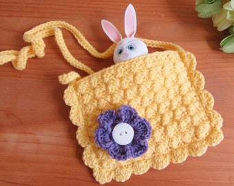 Easter gifts etsy crochet purse little girl purse girls bag gift for girl doll accessory negle Images